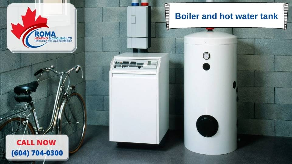 Boiler and hot water tank